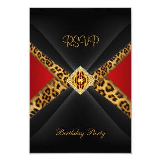 """Joya roja del leopardo del negro del oro del invitación 3.5"""" x 5"""""""