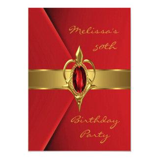 """Joya roja del oro de la perla del terciopelo de la invitación 5"""" x 7"""""""