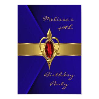 """Joya roja del oro del terciopelo azul de la fiesta invitación 5"""" x 7"""""""