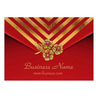 Joya roja del terciopelo de la raya del oro del ne tarjetas de visita