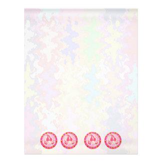 Joya rosada adorable de la hoja: Frontera del desl Membrete A Diseño