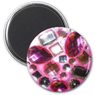 Joya rosada bonita Bling Imán Redondo 5 Cm