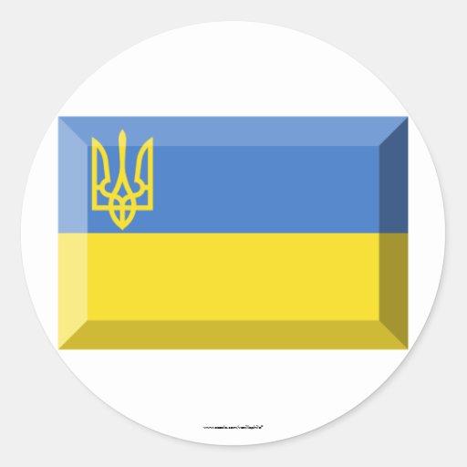 Joya tradicional de la bandera de Ucrania Pegatina Redonda