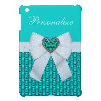 Joya y arco del corazón del Aquamarine falsa iPad Mini Cárcasas