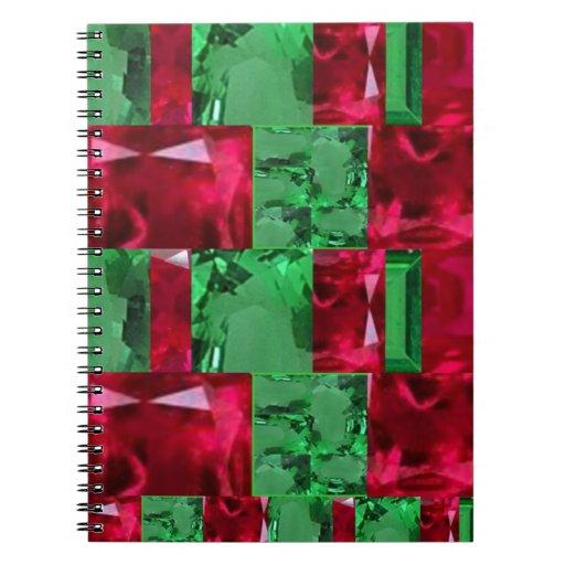 Joyas de rubíes de las esmeraldas de Birthstones p Libros De Apuntes Con Espiral