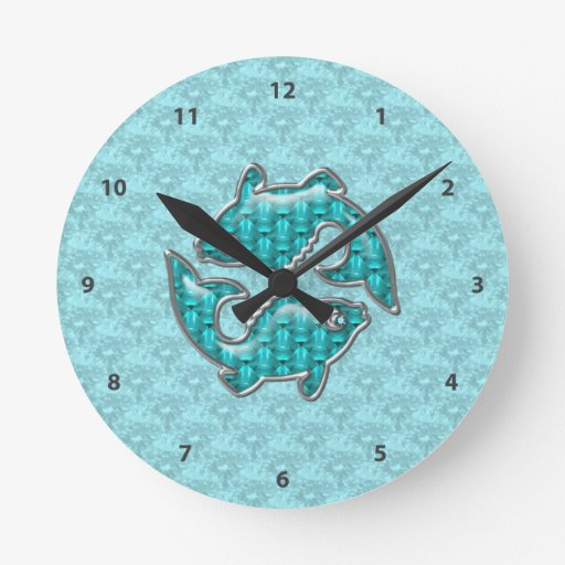 Joyas del Aquamarine y de la plata de los pescados Reloj Redondo Mediano