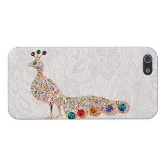 Joyas del diamante del pavo real y foto del cordón iPhone 5 protectores