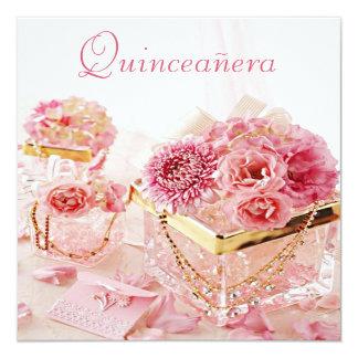 """Joyas del encanto, flores rosadas y cajas invitación 5.25"""" x 5.25"""""""
