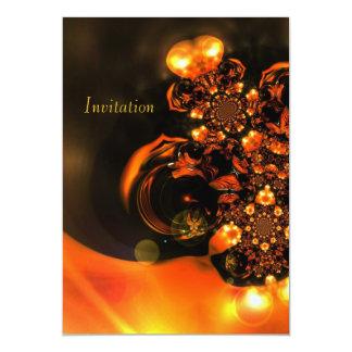 """Joyas del naranja del arte abstracto de la invitación 5"""" x 7"""""""