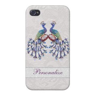 Joyas del pavo real y impresión elegantes del cord iPhone 4/4S fundas