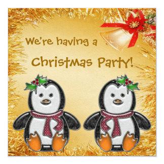Joyas del pingüino, malla del oro y fiesta de invitación 13,3 cm x 13,3cm