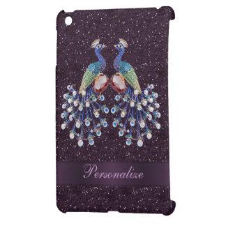 Joyas elegantes del pavo real y impresión púrpura iPad mini protectores