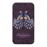 Joyas elegantes del pavo real y impresión púrpura  iPhone 4 carcasa