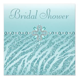 Joyas impresas trullo y ducha nupcial del brillo invitación 13,3 cm x 13,3cm