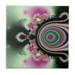 Joyas rosadas negras del fractal del arco iris azulejos ceramicos