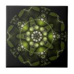 Joyas verdes del fractal azulejo cuadrado pequeño