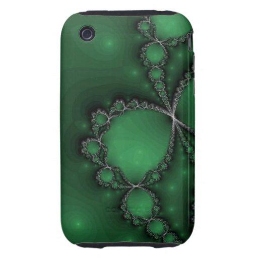 Joyas verdes y negras del fractal tough iPhone 3 carcasas