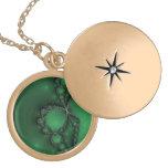 Joyas verdes y negras del fractal medallones