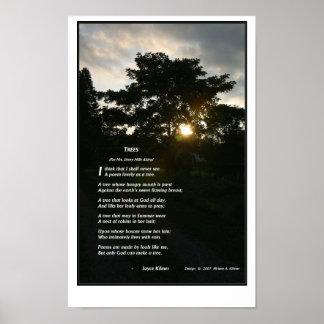 """Joyce Kilmer's """"Trees"""" graphics by Miriam A Kilmer Poster"""