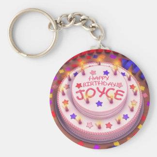 Joyce's Birthday Cake Basic Round Button Keychain