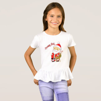 Joyeaux Noel Girls Christmas Ruffle T-Shirt