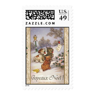 JOYEAUX NOEL MERRY CHRISTMAS FRENCH POSTAGE STAMPS
