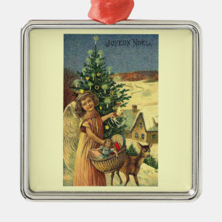 JOYEAUX NOEL MERRY CHRISTMAS IN FRENCH 2 METAL ORNAMENT