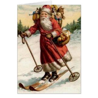 Joyeaux Noel Saint Nicholas Skiing Greeting Card