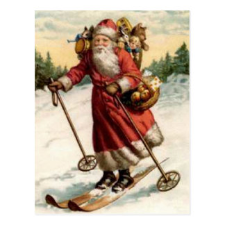 Joyeaux Noel Saint Nicholas Skiing Postcard