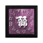 Joyería de los géminis/caja de regalo púrpuras