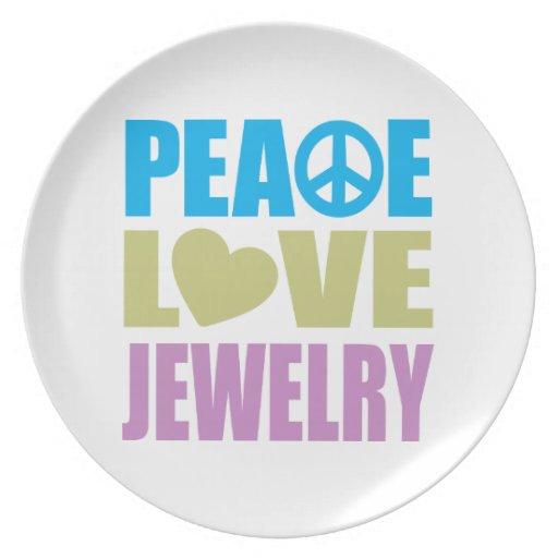Joyería del amor de la paz platos para fiestas
