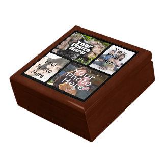 Joyería del recuerdo del collage de cuatro fotos/c joyero cuadrado grande