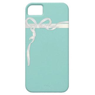 Joyero azul del huevo del petirrojo con la cinta iPhone 5 fundas