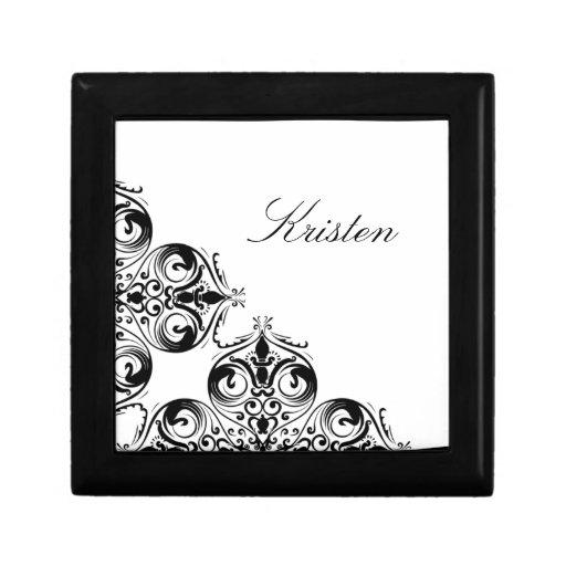 Joyero barroco negro y blanco personalizado
