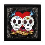 Joyero de los cráneos del amor caja de regalo