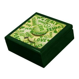 Joyero del recuerdo del tenis del amor de la paz cajas de recuerdo