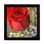 Joyero del rosa rojo caja de recuerdo