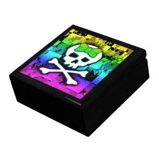 Joyero femenino del cráneo del arco iris caja de regalo