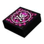 Joyero femenino del cráneo del leopardo rosado caja de recuerdo