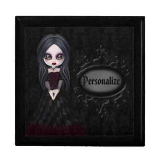 Joyero negro personalizado chica lindo del gótico