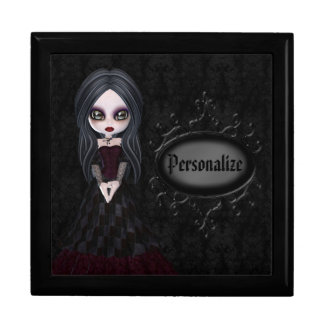 Joyero negro personalizado chica lindo del gótico cajas de recuerdo