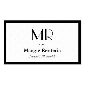 Joyero platero - monograma elegante limpio tarjetas de visita
