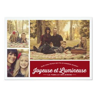 Joyeuse et Lumineuse 3 carte de photo de vacances Card