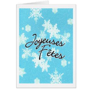 Joyeuse Fetes los copos de nieve Felicitación