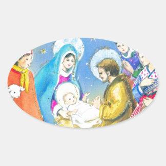 Joyeuse Noel, Vintage French Christmas Card Oval Sticker