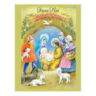 Joyeuse Noel, Vintage French Christmas Card Postcard