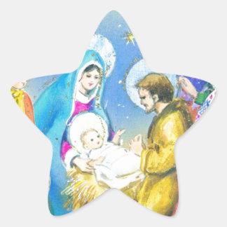 Joyeuse Noel, Vintage French Christmas Card Star Sticker
