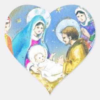 Joyeuse Noel, Vintage French Christmas Card Heart Stickers