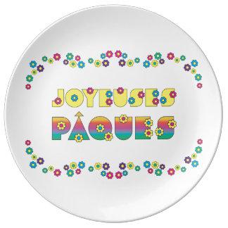 Joyeuses Pâques avec des Fleurs Porcelain Plate