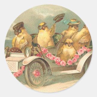 Joyeuses Pâques Cute Vintage Easter Classic Round Sticker